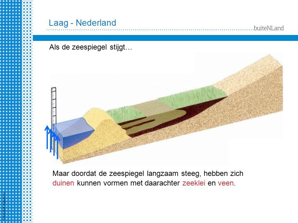 Maar doordat de zeespiegel langzaam steeg, hebben zich duinen kunnen vormen met daarachter zeeklei en veen. Laag - Nederland