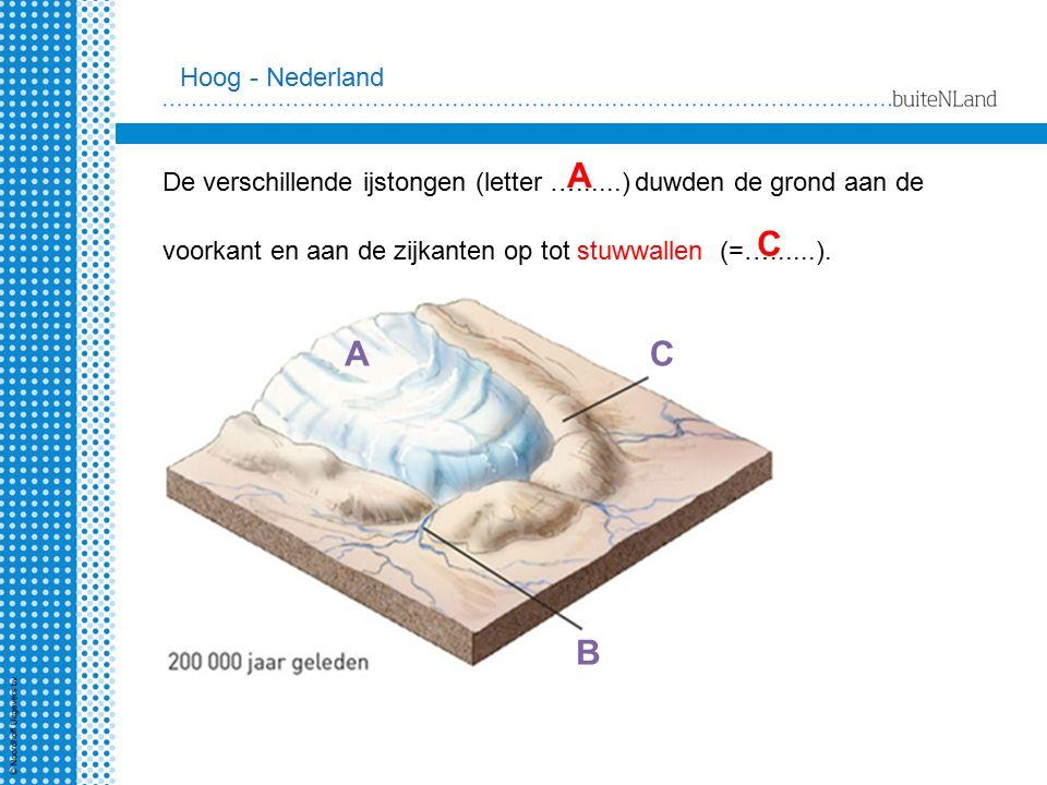 De verschillende ijstongen (letter …......) duwden de grond aan de voorkant en aan de zijkanten op tot stuwwallen (=…......). AC B A C Hoog - Nederlan