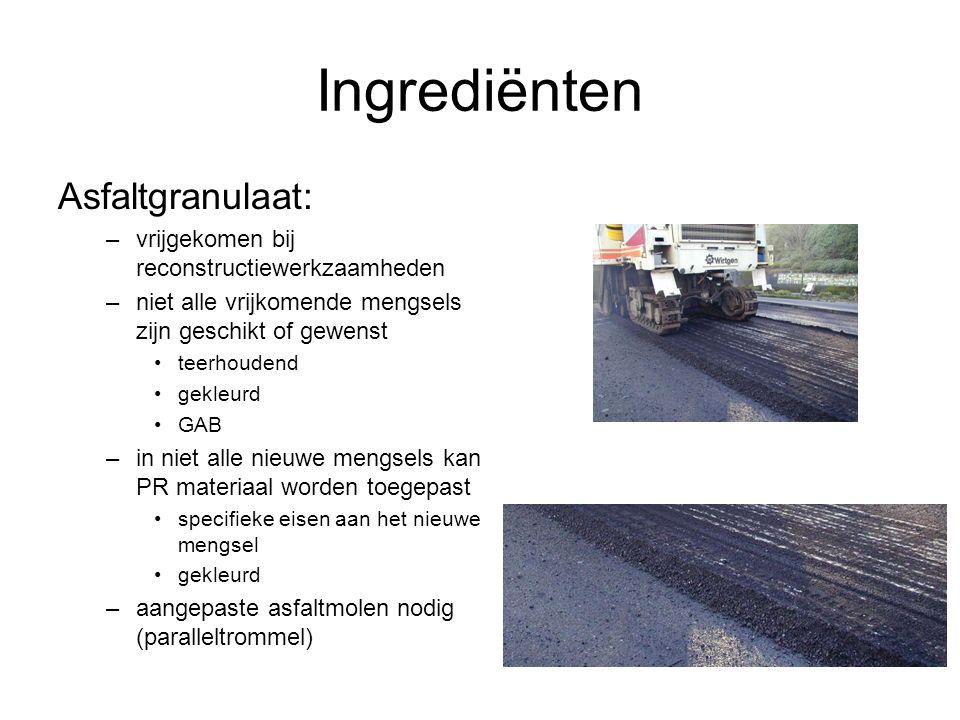 Ingrediënten Asfaltgranulaat: –vrijgekomen bij reconstructiewerkzaamheden –niet alle vrijkomende mengsels zijn geschikt of gewenst teerhoudend gekleur