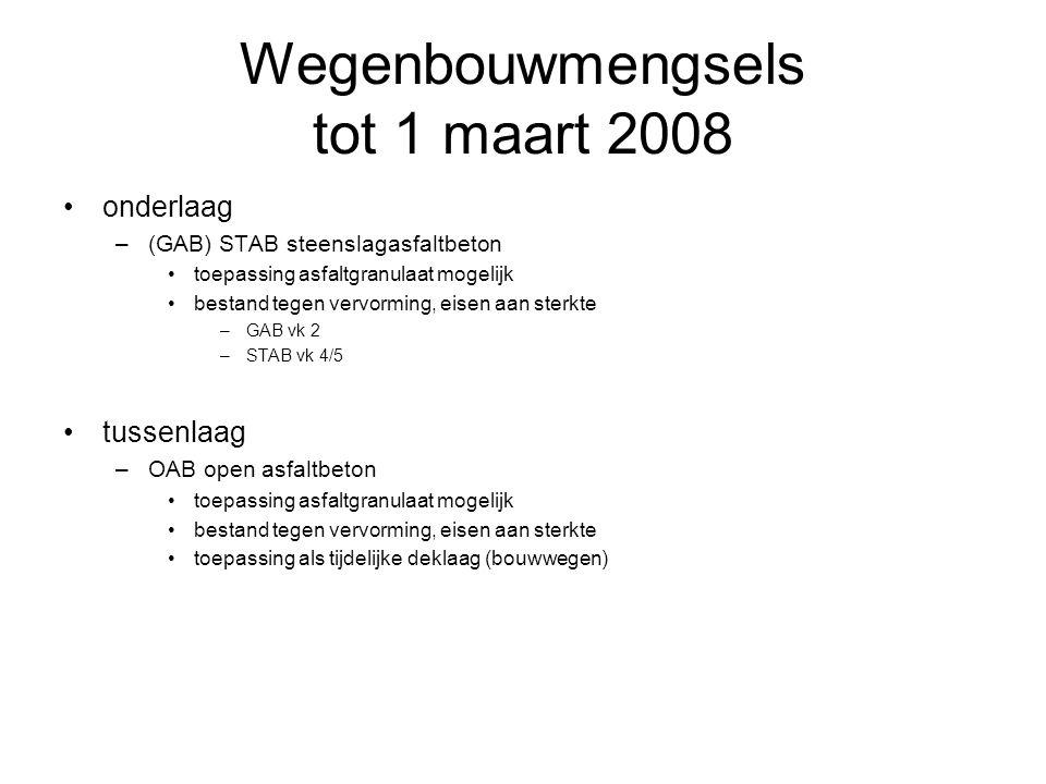 Wegenbouwmengsels tot 1 maart 2008 onderlaag –(GAB) STAB steenslagasfaltbeton toepassing asfaltgranulaat mogelijk bestand tegen vervorming, eisen aan