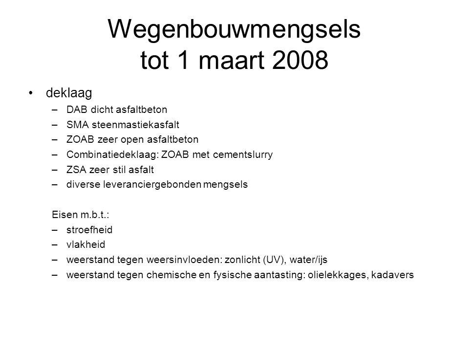 Wegenbouwmengsels tot 1 maart 2008 deklaag –DAB dicht asfaltbeton –SMA steenmastiekasfalt –ZOAB zeer open asfaltbeton –Combinatiedeklaag: ZOAB met cem