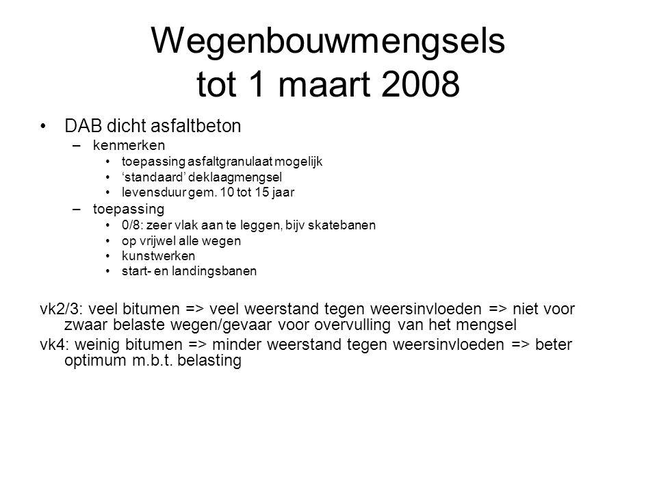 Wegenbouwmengsels tot 1 maart 2008 DAB dicht asfaltbeton –kenmerken toepassing asfaltgranulaat mogelijk 'standaard' deklaagmengsel levensduur gem. 10