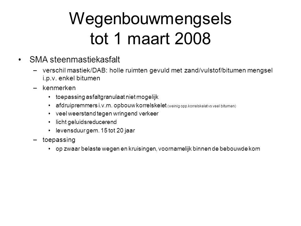 Wegenbouwmengsels tot 1 maart 2008 SMA steenmastiekasfalt –verschil mastiek/DAB: holle ruimten gevuld met zand/vulstof/bitumen mengsel i.p.v. enkel bi