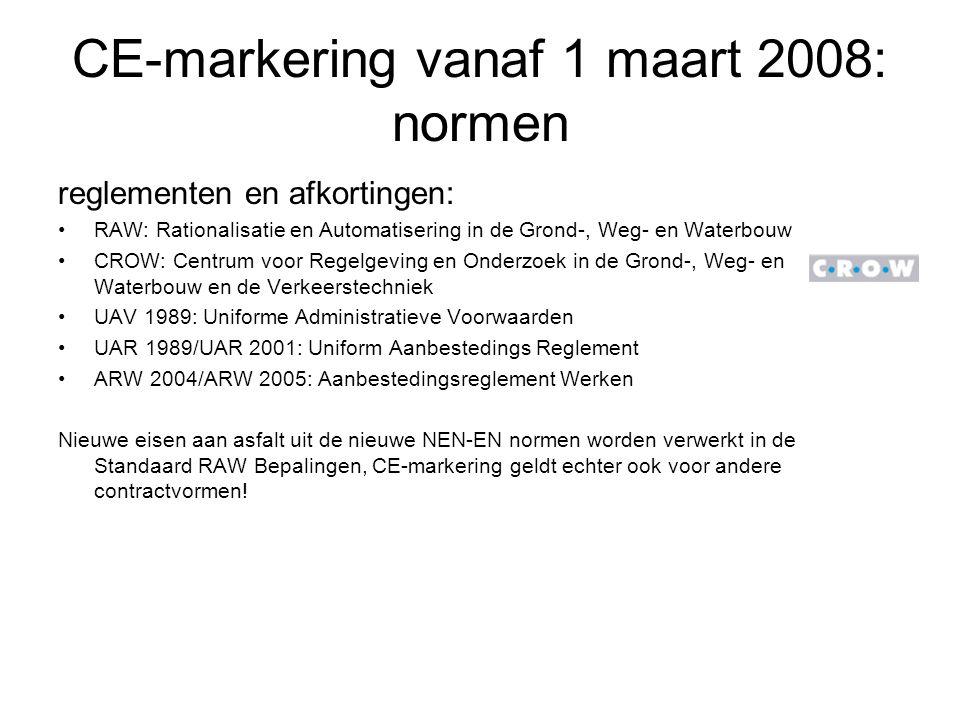CE-markering vanaf 1 maart 2008: normen reglementen en afkortingen: RAW: Rationalisatie en Automatisering in de Grond-, Weg- en Waterbouw CROW: Centru