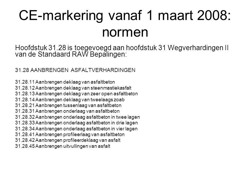 CE-markering vanaf 1 maart 2008: normen Hoofdstuk 31.28 is toegevoegd aan hoofdstuk 31 Wegverhardingen II van de Standaard RAW Bepalingen: 31.28 AANBR