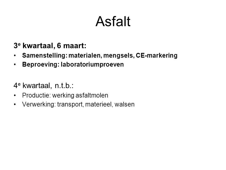 Asfalt 3 e kwartaal, 6 maart: Samenstelling: materialen, mengsels, CE-markering Beproeving: laboratoriumproeven 4 e kwartaal, n.t.b.: Productie: werki
