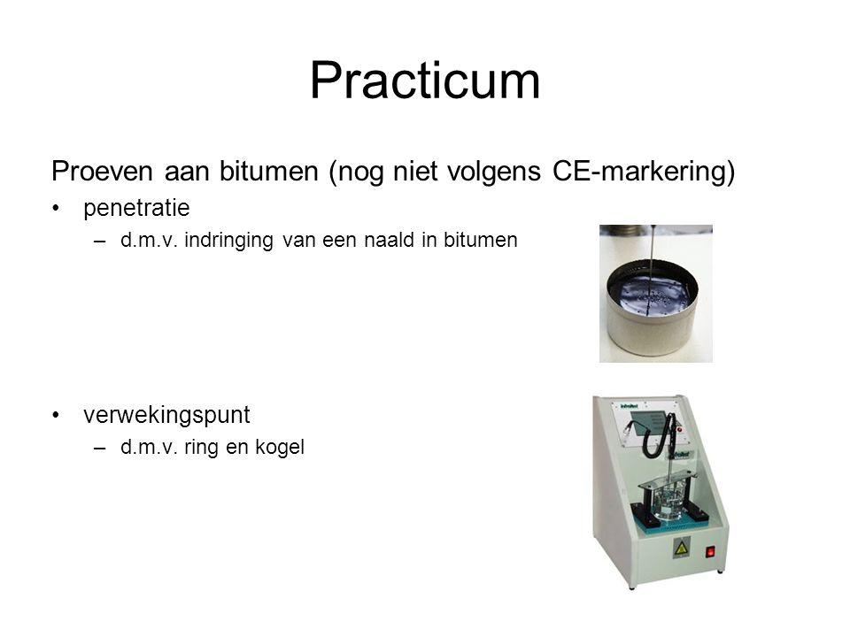 Practicum Proeven aan bitumen (nog niet volgens CE-markering) penetratie –d.m.v. indringing van een naald in bitumen verwekingspunt –d.m.v. ring en ko