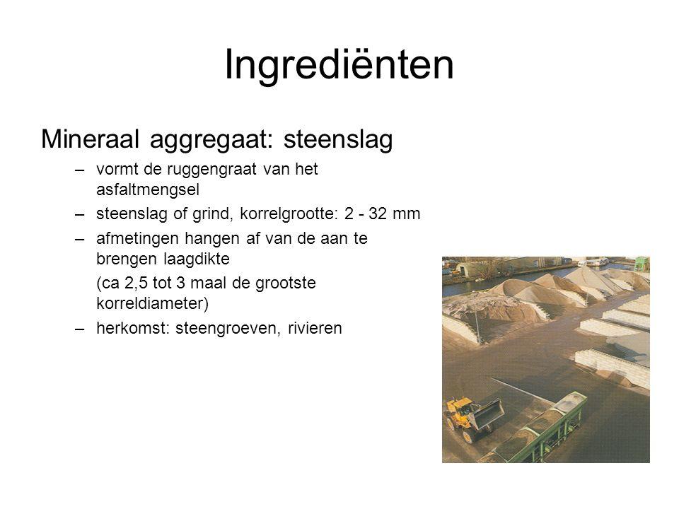 Ingrediënten Mineraal aggregaat: steenslag –vormt de ruggengraat van het asfaltmengsel –steenslag of grind, korrelgrootte: 2 - 32 mm –afmetingen hange