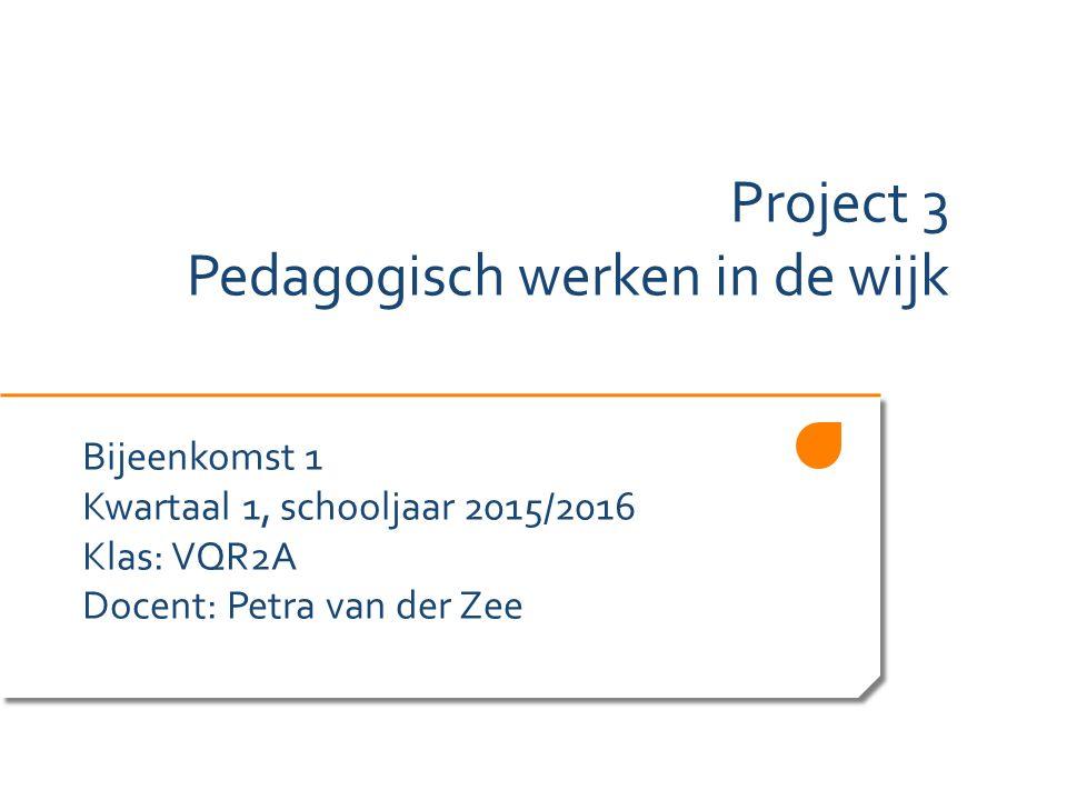 Project 3 Pedagogisch werken in de wijk Bijeenkomst 1 Kwartaal 1, schooljaar 2015/2016 Klas: VQR2A Docent: Petra van der Zee