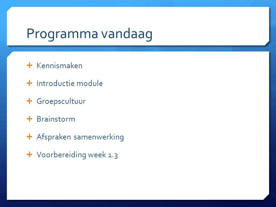 Programma vandaag  Kennismaken  Introductie module  Groepscultuur  Brainstorm  Afspraken samenwerking  Voorbereiding week 1.3