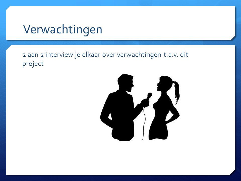 Verwachtingen 2 aan 2 interview je elkaar over verwachtingen t.a.v. dit project
