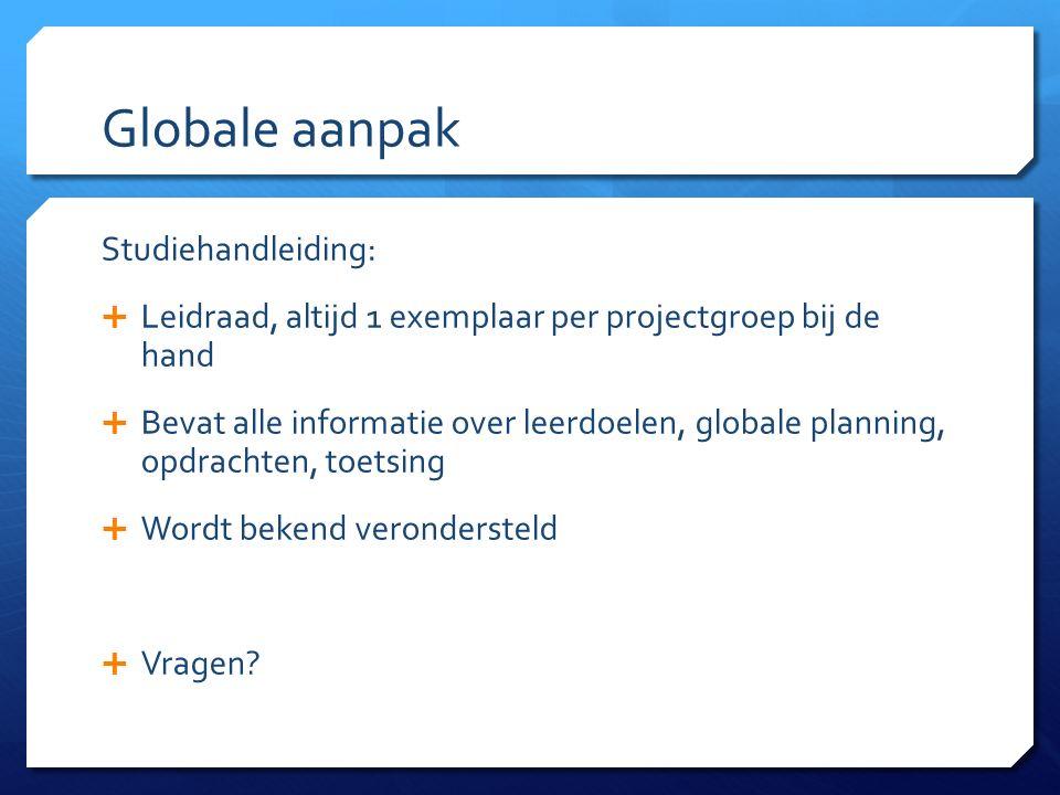 Globale aanpak Studiehandleiding:  Leidraad, altijd 1 exemplaar per projectgroep bij de hand  Bevat alle informatie over leerdoelen, globale planning, opdrachten, toetsing  Wordt bekend verondersteld  Vragen