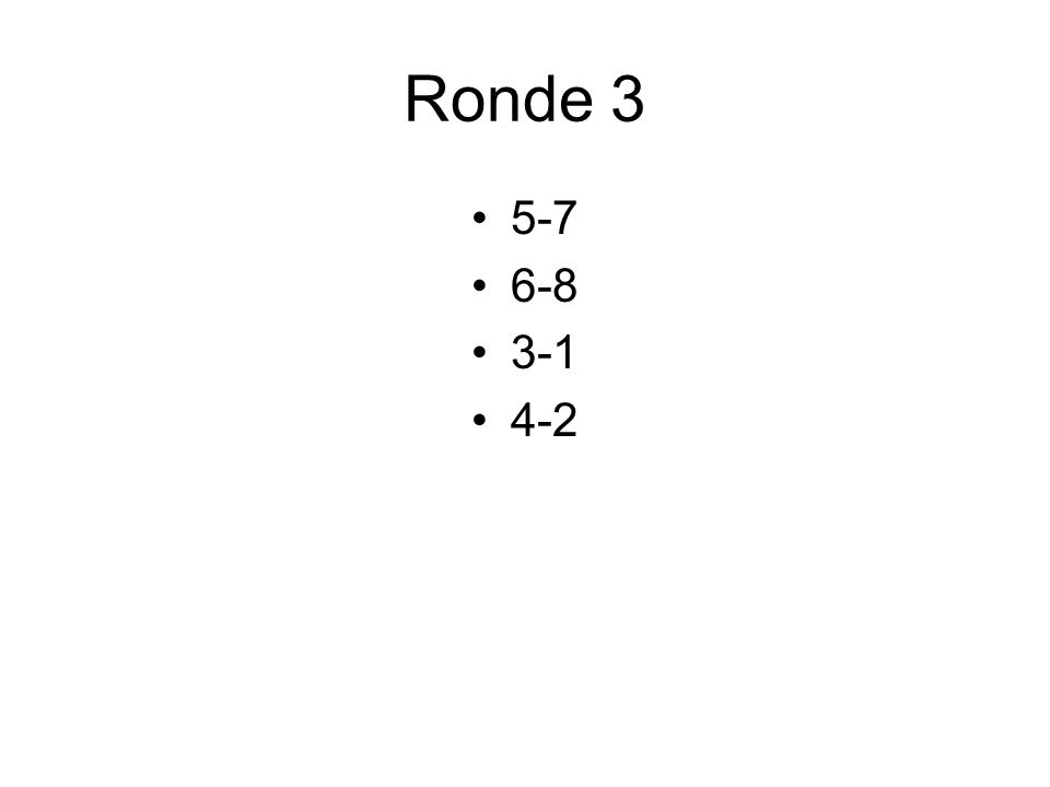 Ronde 3 5-7 6-8 3-1 4-2
