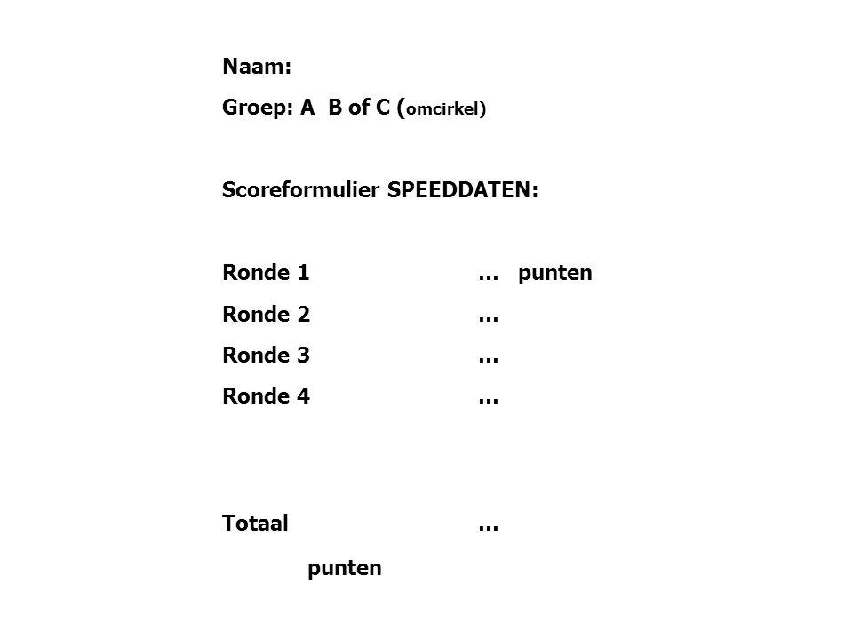 Naam: Groep: A B of C ( omcirkel) Scoreformulier SPEEDDATEN: Ronde 1… punten Ronde 2… Ronde 3… Ronde 4… Totaal… punten