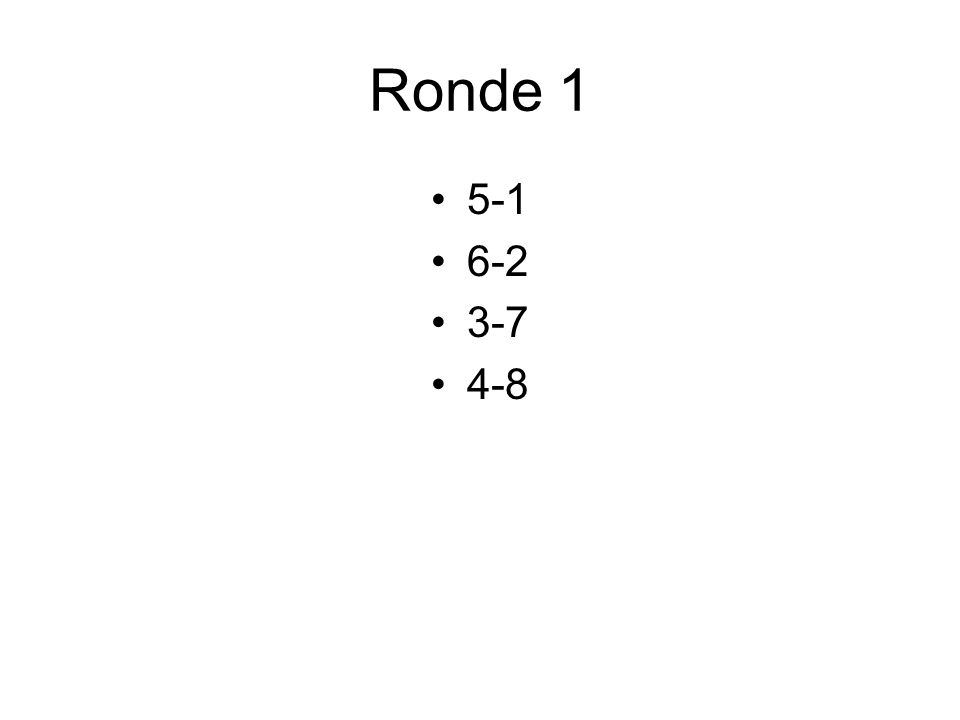 Ronde 1 5-1 6-2 3-7 4-8