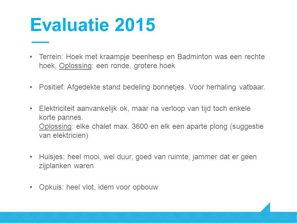 Evaluatie 2015 Terrein: Hoek met kraampje beenhesp en Badminton was een rechte hoek, Oplossing: een ronde, grotere hoek Positief: Afgedekte stand bedeling bonnetjes.