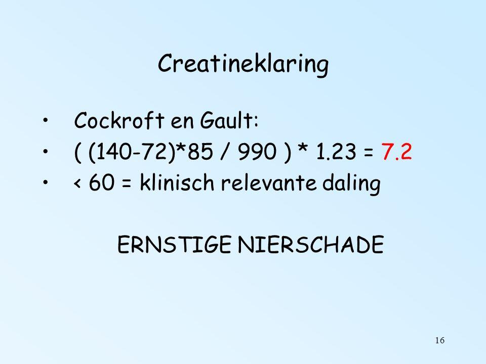 16 Creatineklaring Cockroft en Gault: ( (140-72)*85 / 990 ) * 1.23 = 7.2 < 60 = klinisch relevante daling ERNSTIGE NIERSCHADE