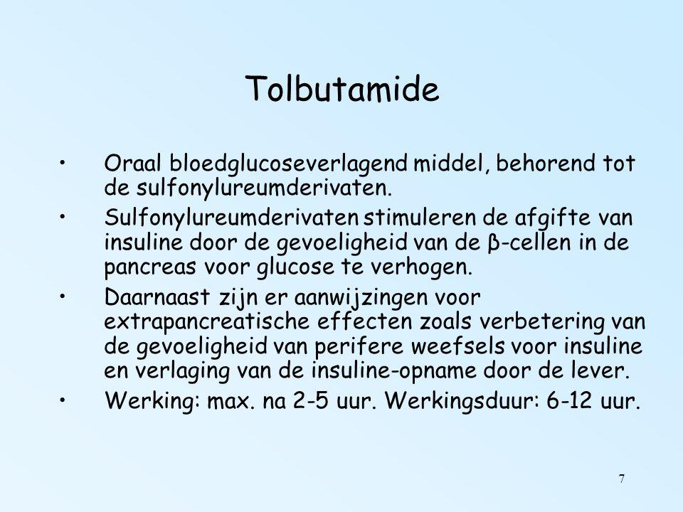 8 Tolbutamide vs Metformine Farmacotherapeutisch kompas: Bij niet obese patiënten heeft gebruik van een kortwerkend sulfonylureumderivaat (tolbutamide, gliclazide tabletten mga 80 mg) de voorkeur; bij overgewicht (BMI > 27) vormt metformine eerste keus.