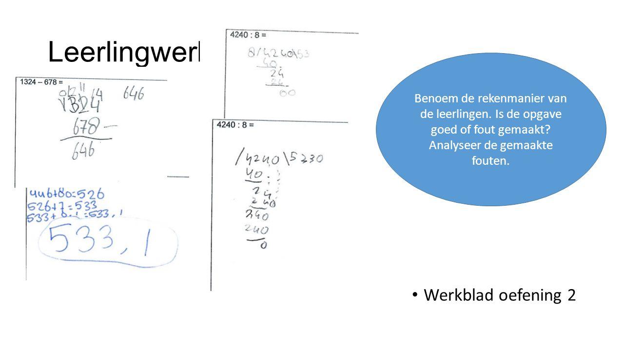 Leerlingwerk Werkblad oefening 2 Benoem de rekenmanier van de leerlingen.