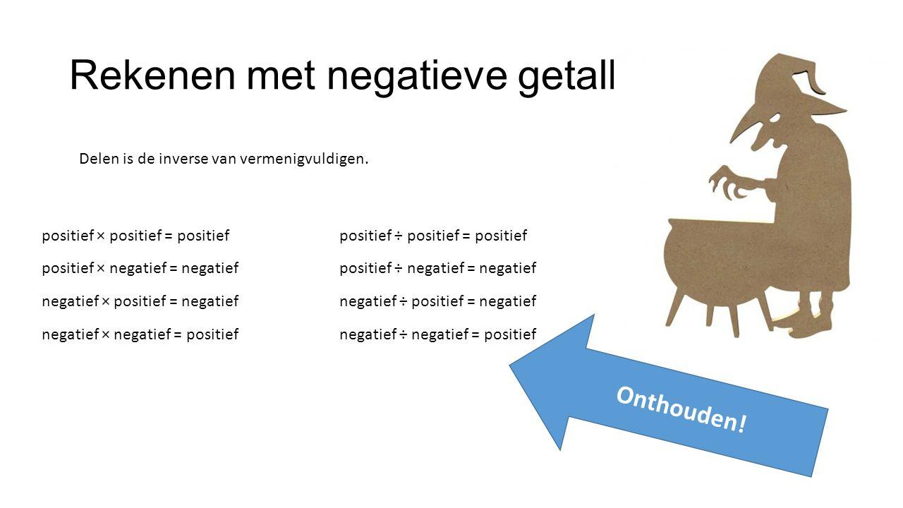 Rekenen met negatieve getallen positief × positief = positief positief ÷ positief = positief positief × negatief = negatief positief ÷ negatief = negatief negatief × positief = negatief negatief ÷ positief = negatief negatief × negatief = positief negatief ÷ negatief = positief Delen is de inverse van vermenigvuldigen.