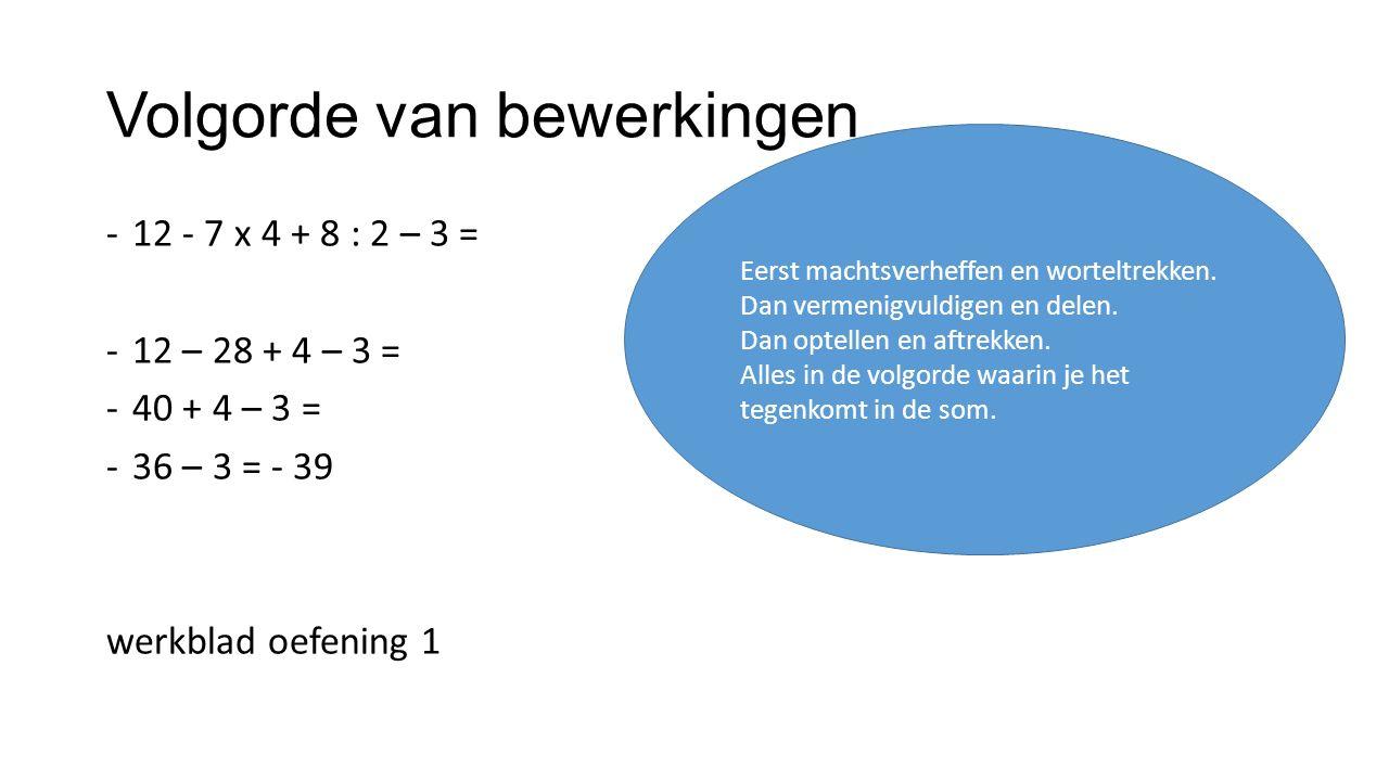 Volgorde van bewerkingen -12 - 7 x 4 + 8 : 2 – 3 = -12 – 28 + 4 – 3 = -40 + 4 – 3 = -36 – 3 = - 39 werkblad oefening 1 Eerst machtsverheffen en worteltrekken.