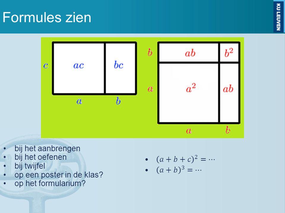 Formules zien bij het aanbrengen bij het oefenen bij twijfel op een poster in de klas.