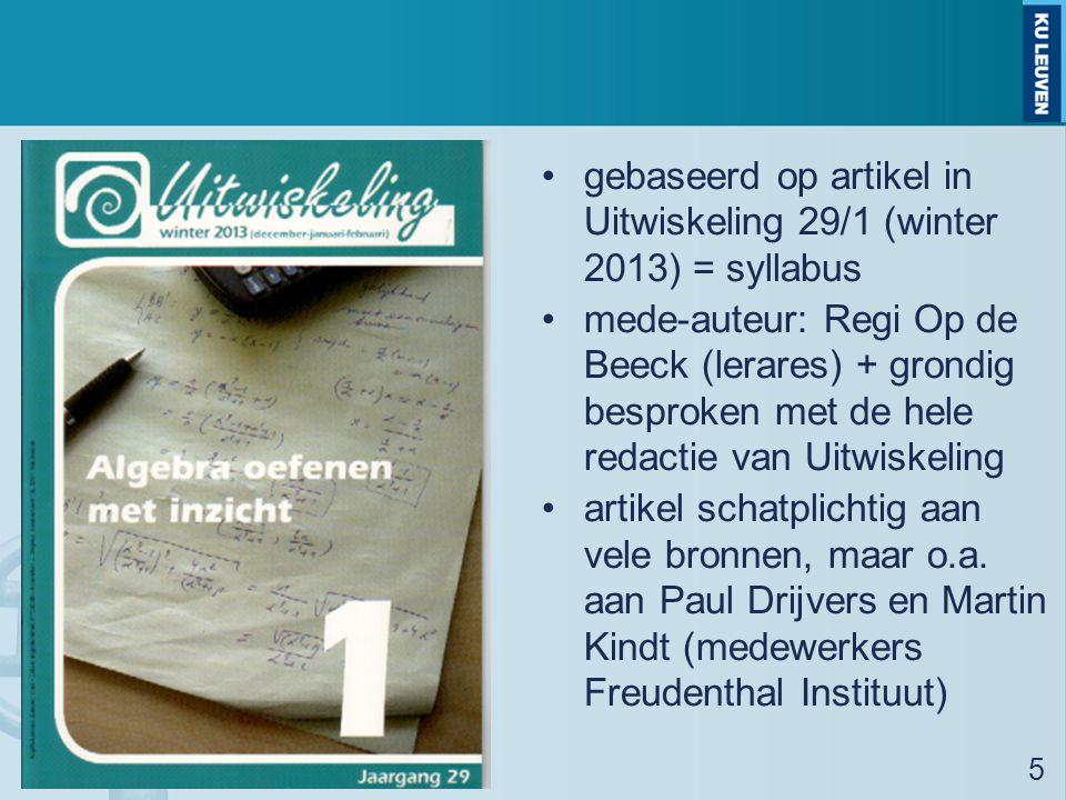gebaseerd op artikel in Uitwiskeling 29/1 (winter 2013) = syllabus mede-auteur: Regi Op de Beeck (lerares) + grondig besproken met de hele redactie van Uitwiskeling artikel schatplichtig aan vele bronnen, maar o.a.