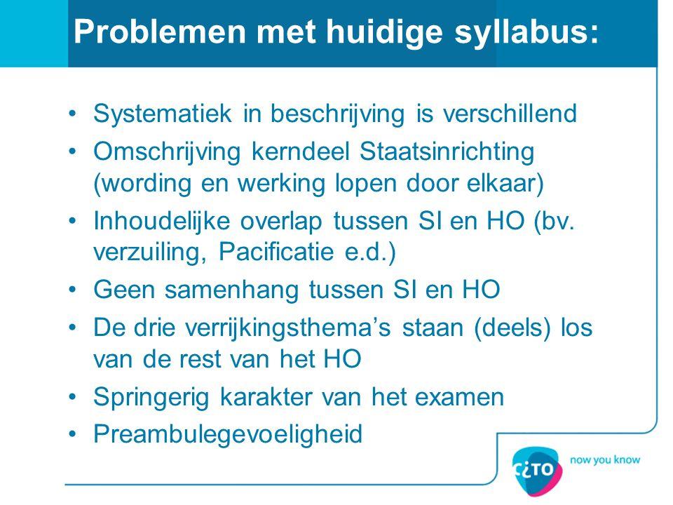 Problemen met huidige syllabus: Systematiek in beschrijving is verschillend Omschrijving kerndeel Staatsinrichting (wording en werking lopen door elkaar) Inhoudelijke overlap tussen SI en HO (bv.