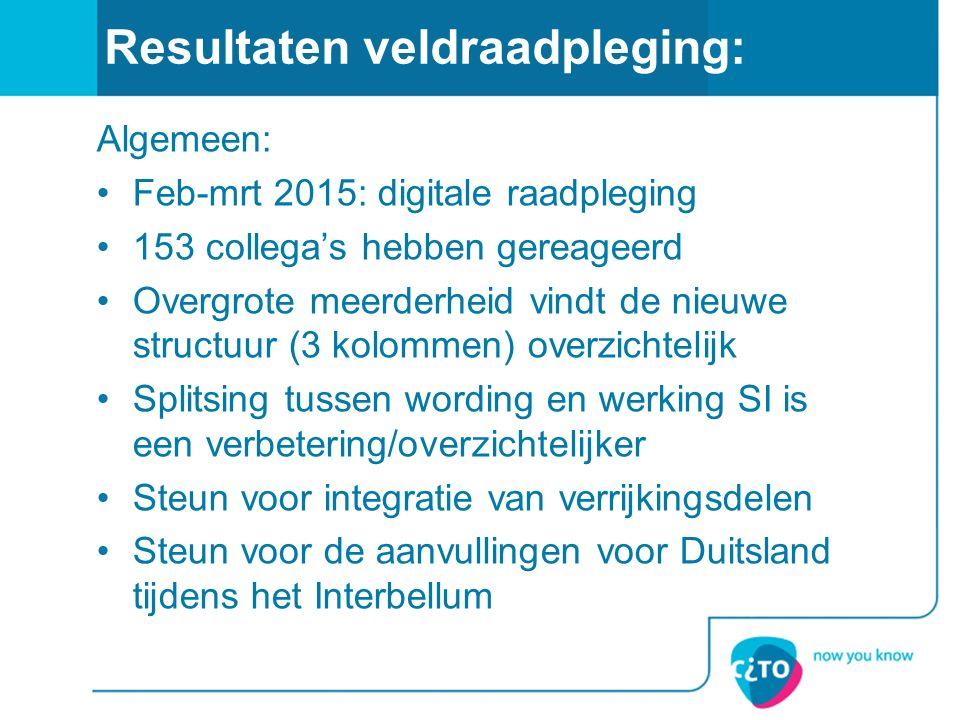 Resultaten veldraadpleging: Algemeen: Feb-mrt 2015: digitale raadpleging 153 collega's hebben gereageerd Overgrote meerderheid vindt de nieuwe structu