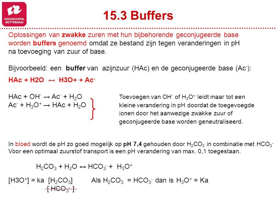 15.3 Buffers Oplossingen van zwakke zuren met hun bijbehorende geconjugeerde base worden buffers genoemd omdat ze bestand zijn tegen veranderingen in