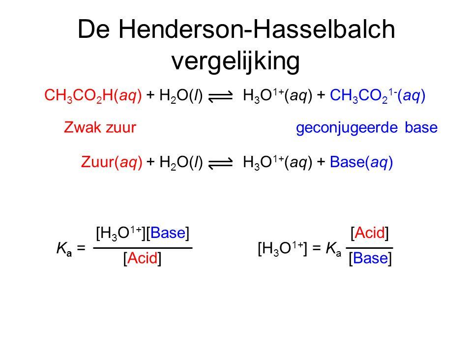 De Henderson-Hasselbalch vergelijking geconjugeerde baseZwak zuur H 3 O 1+ (aq) + Base(aq)Zuur(aq) + H 2 O(l) [Acid] [Base] [H 3 O 1+ ] = K a K a = [H 3 O 1+ ][Base] [Acid] H 3 O 1+ (aq) + CH 3 CO 2 1- (aq)CH 3 CO 2 H(aq) + H 2 O(l)
