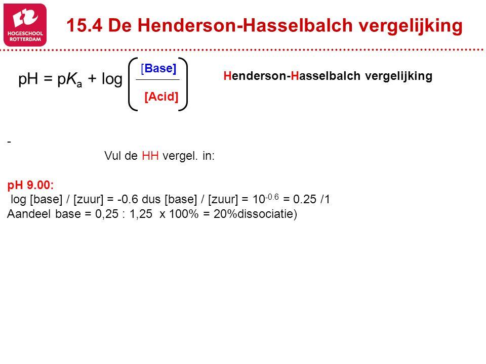 15.4 De Henderson-Hasselbalch vergelijking Henderson-Hasselbalch vergelijking - Vul de HH vergel. in: pH 9.00: log [base] / [zuur] = -0.6 dus [base] /