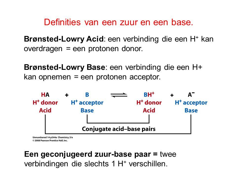 Definities van een zuur en een base. Een geconjugeerd zuur-base paar = twee verbindingen die slechts 1 H + verschillen. Brønsted-Lowry Acid: een verbi