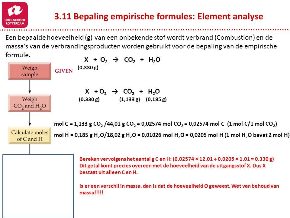 3.11 Bepaling empirische formules: Element analyse Een bepaalde hoeveelheid (g) van een onbekende stof wordt verbrand (Combustion) en de massa's van de verbrandingsproducten worden gebruikt voor de bepaling van de empirische formule.