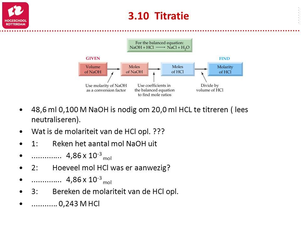 48,6 ml 0,100 M NaOH is nodig om 20,0 ml HCL te titreren ( lees neutraliseren). Wat is de molariteit van de HCl opl. ??? 1:Reken het aantal mol NaOH u