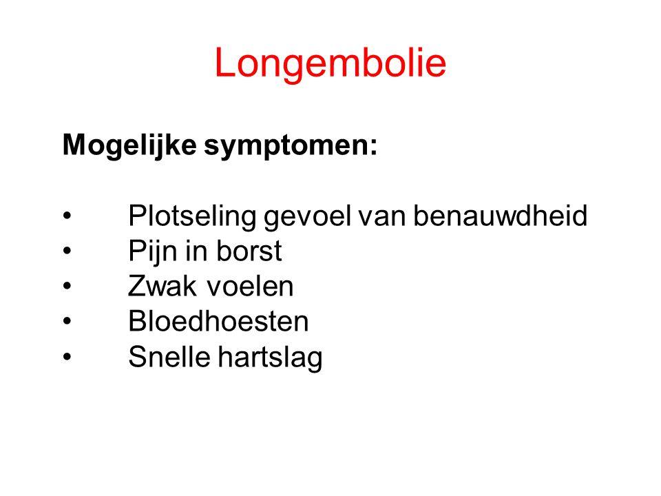 Longembolie Mogelijke symptomen: Plotseling gevoel van benauwdheid Pijn in borst Zwak voelen Bloedhoesten Snelle hartslag