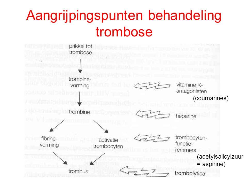 Aangrijpingspunten behandeling trombose (coumarines) (acetylsalicylzuur = aspirine)