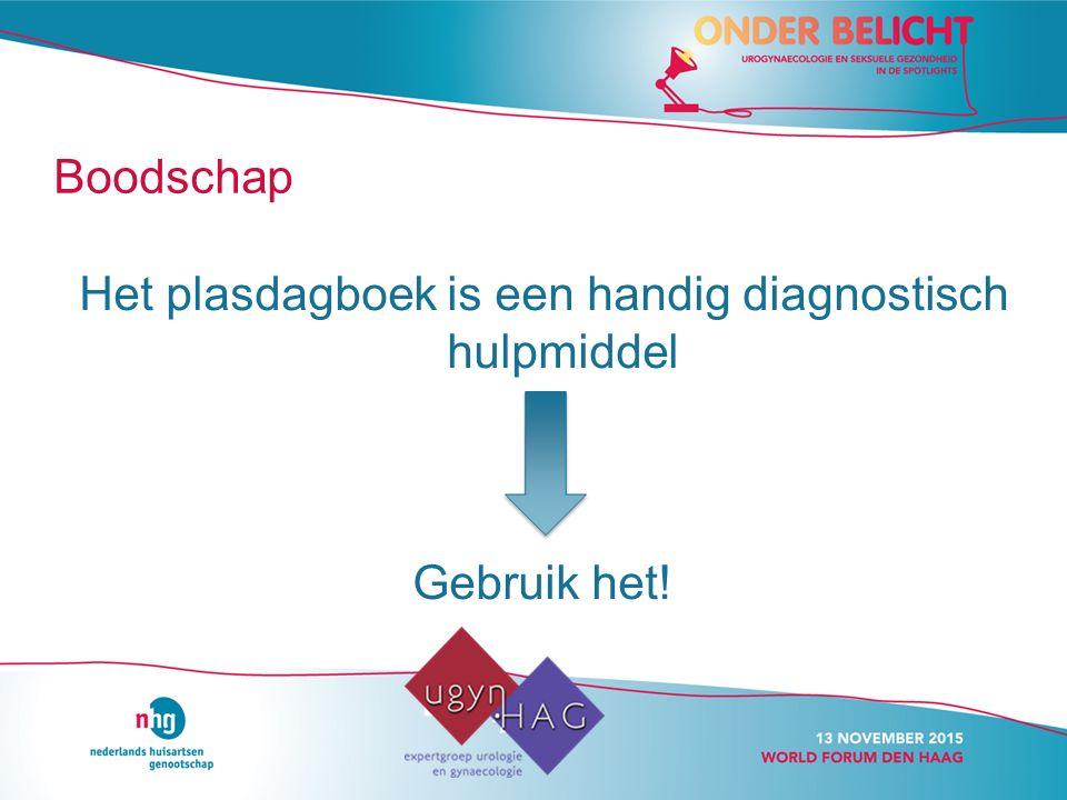 Boodschap Het plasdagboek is een handig diagnostisch hulpmiddel Gebruik het!