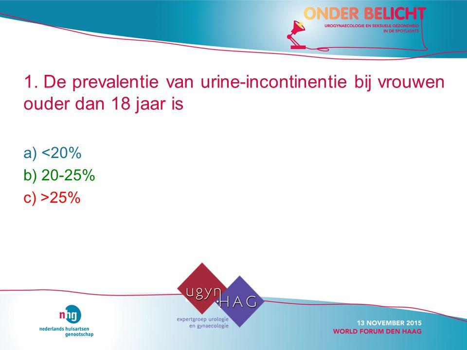 1. De prevalentie van urine-incontinentie bij vrouwen ouder dan 18 jaar is a) <20% b) 20-25% c) >25%