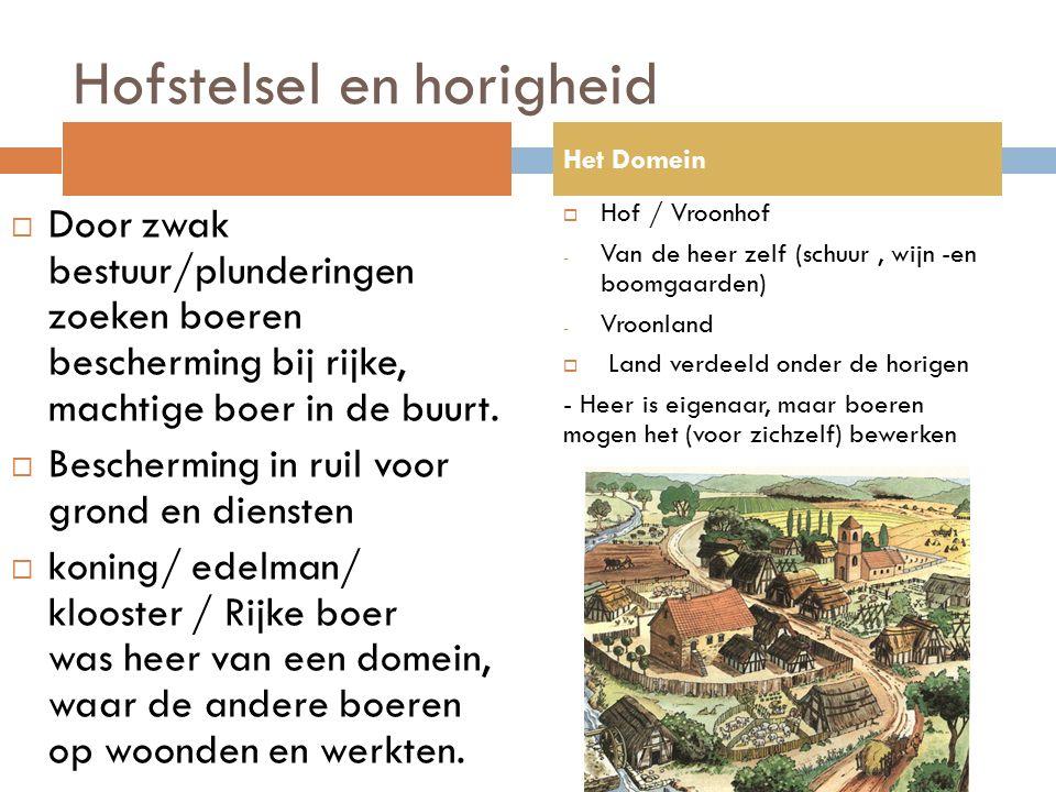 Hofstelsel en horigheid  Door zwak bestuur/plunderingen zoeken boeren bescherming bij rijke, machtige boer in de buurt.