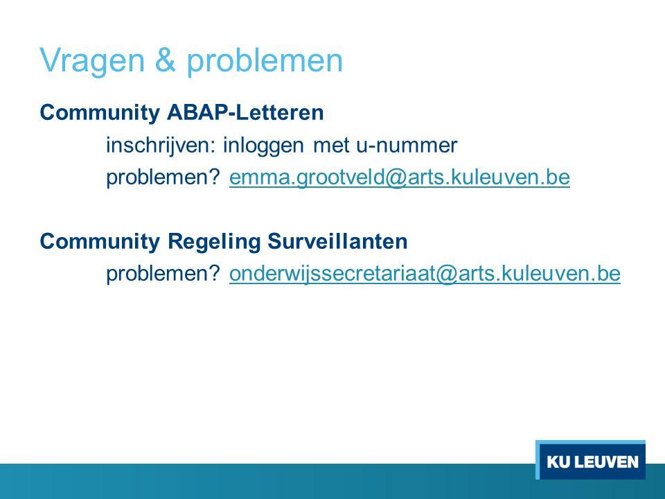 Vragen & problemen Community ABAP-Letteren inschrijven: inloggen met u-nummer problemen.