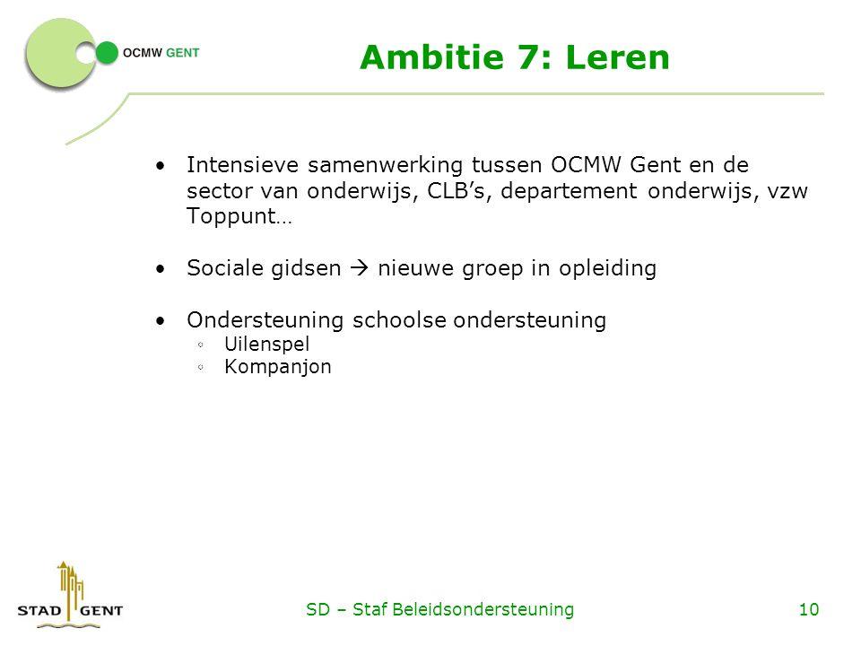 Ambitie 7: Leren Intensieve samenwerking tussen OCMW Gent en de sector van onderwijs, CLB's, departement onderwijs, vzw Toppunt… Sociale gidsen  nieuwe groep in opleiding Ondersteuning schoolse ondersteuning ◦ Uilenspel ◦ Kompanjon SD – Staf Beleidsondersteuning10