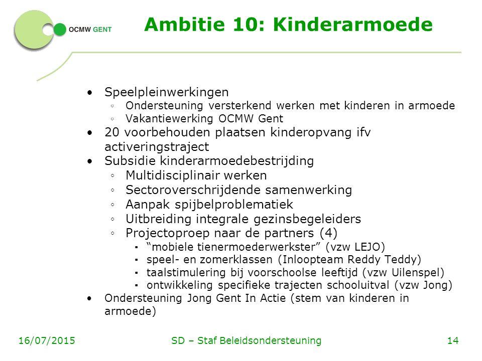Speelpleinwerkingen ◦ Ondersteuning versterkend werken met kinderen in armoede ◦ Vakantiewerking OCMW Gent 20 voorbehouden plaatsen kinderopvang ifv a