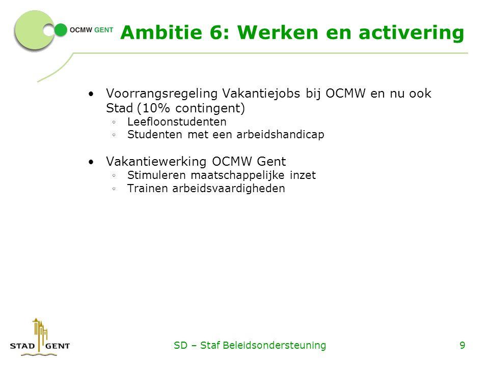 Ambitie 6: Werken en activering Voorrangsregeling Vakantiejobs bij OCMW en nu ook Stad(10% contingent) ◦ Leefloonstudenten ◦ Studenten met een arbeids