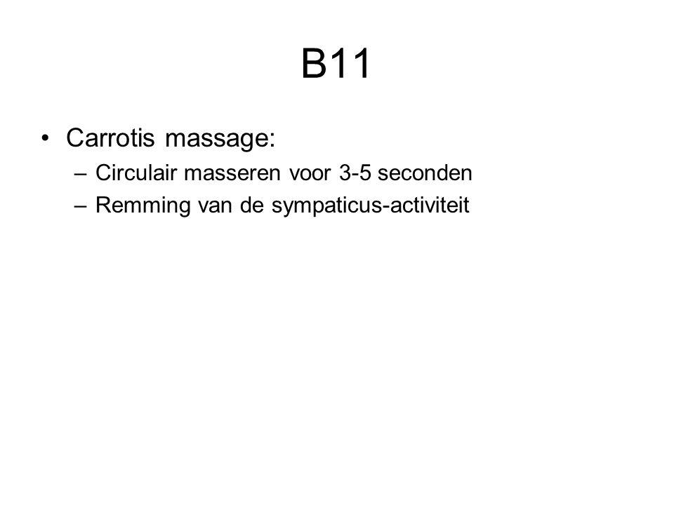 B11 Carrotis massage: –Circulair masseren voor 3-5 seconden –Remming van de sympaticus-activiteit
