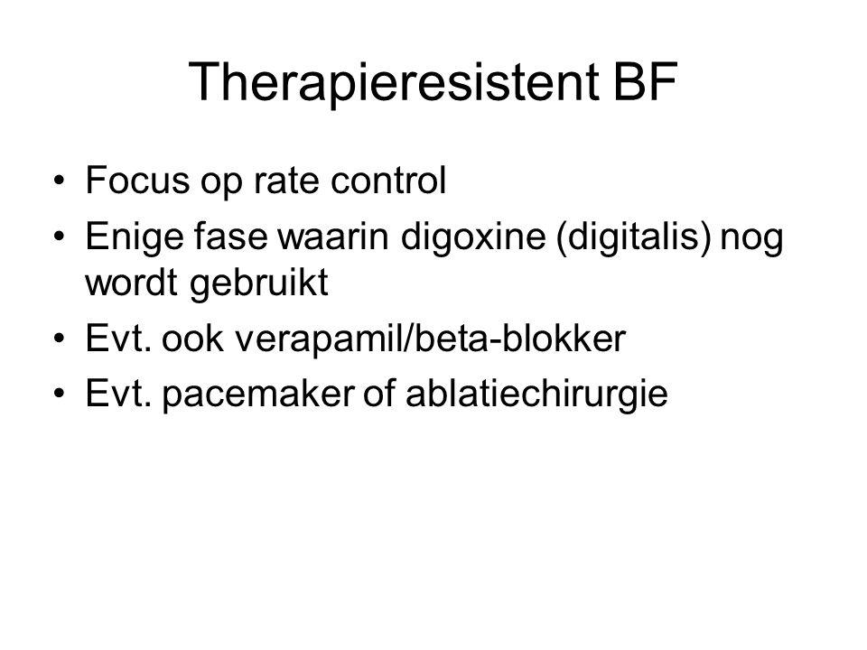 Therapieresistent BF Focus op rate control Enige fase waarin digoxine (digitalis) nog wordt gebruikt Evt. ook verapamil/beta-blokker Evt. pacemaker of