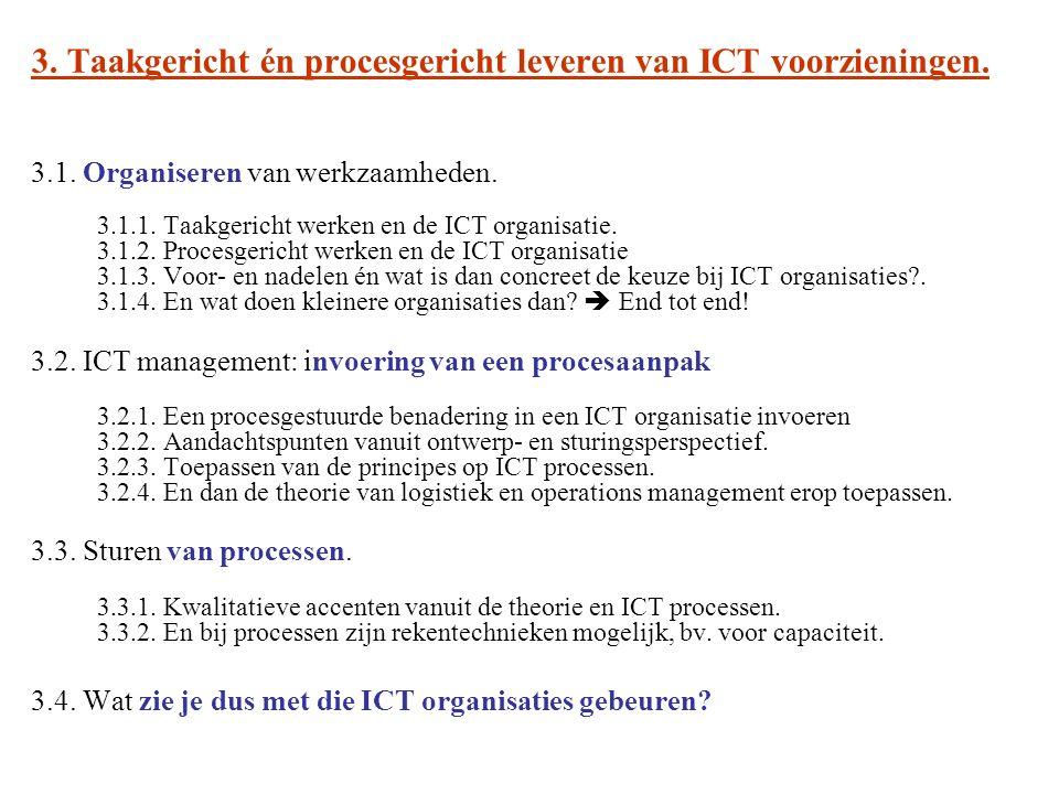 3. Taakgericht én procesgericht leveren van ICT voorzieningen. 3.1. Organiseren van werkzaamheden. 3.1.1. Taakgericht werken en de ICT organisatie. 3.