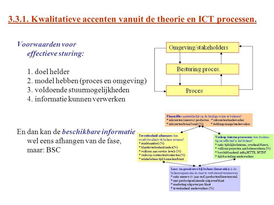 3.3.1. Kwalitatieve accenten vanuit de theorie en ICT processen. Voorwaarden voor effectieve sturing: 1. doel helder 2. model hebben (proces en omgevi