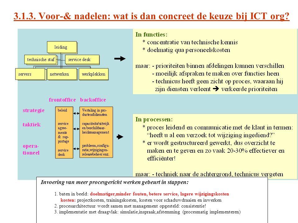 3.1.3. Voor-& nadelen: wat is dan concreet de keuze bij ICT org? Invoering van meer procesgericht werken gebeurt in stappen: 1. baten in beeld: doelma