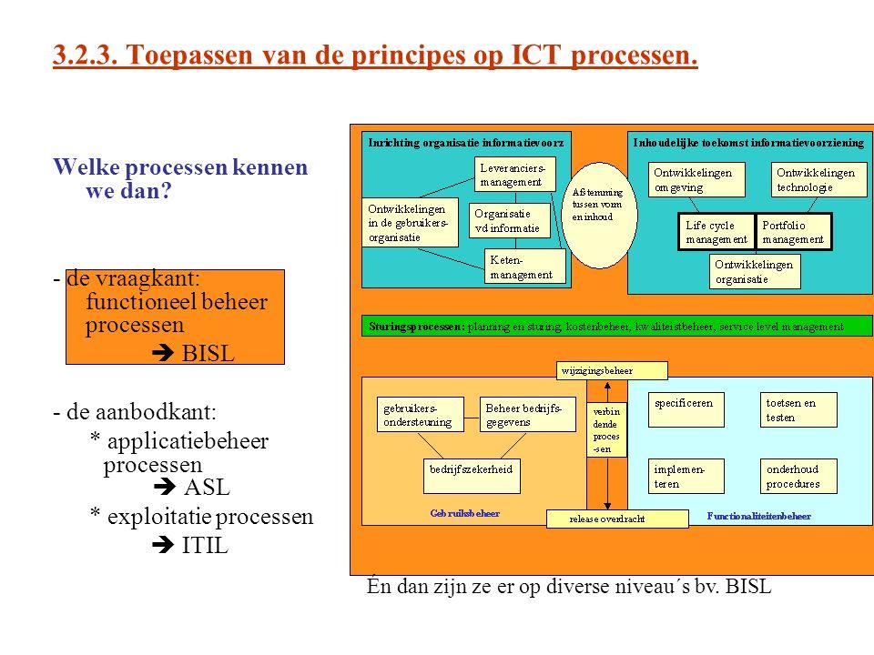 3.2.3. Toepassen van de principes op ICT processen. Welke processen kennen we dan? - de vraagkant: functioneel beheer processen  BISL - de aanbodkant